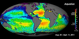 Aquarius spacecraft first global salinity map Aug-Sep 2011.jpg